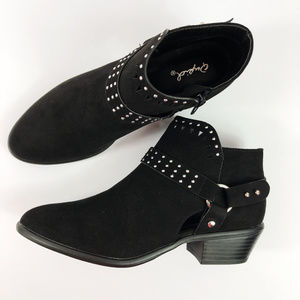 [QUPID] Weekend Studded Ankle Booties NEW